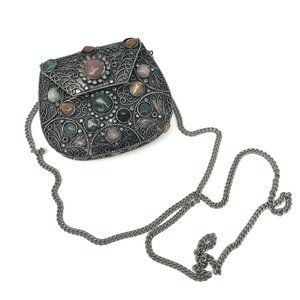 Vintage Metal Purse Intricate Design & Gemstones